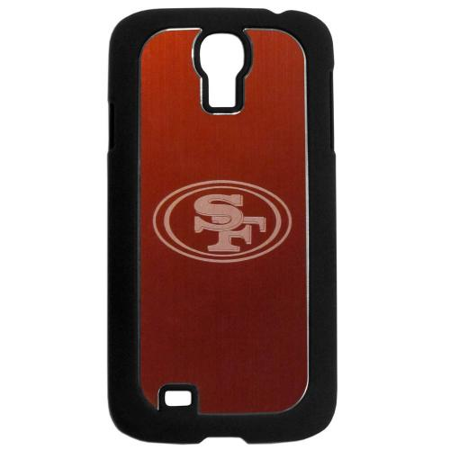 San Francisco 49ers Black Rubberized Hard Tough Case w/ Etched Engraved Back for Samsung Galaxy S4 - NFL Licensed