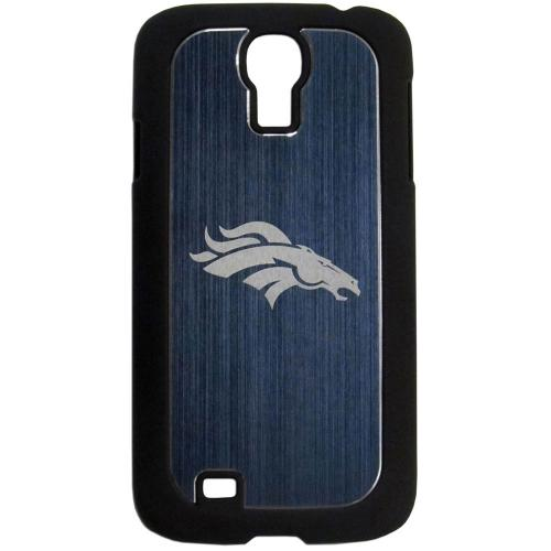 Denver Broncos Black Rubberized Hard Tough Case w/ Etched Engraved Back for Samsung Galaxy S4 - NFL Licensed