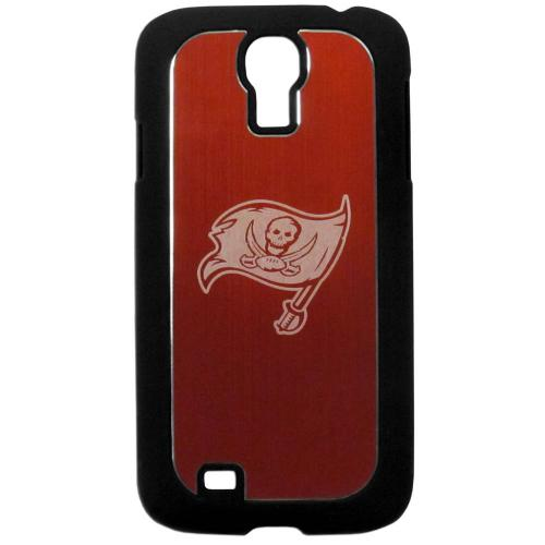 Tampa Bay Buccaneers Black Rubberized Hard Tough Case w/ Etched Engraved Back for Samsung Galaxy S4 - NFL Licensed