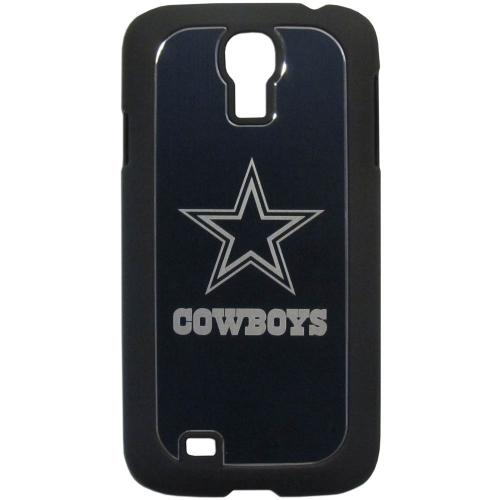 Dallas Cowboys Black Rubberized Hard Tough Case w/ Etched Engraved Back for Samsung Galaxy S4 - NFL Licensed