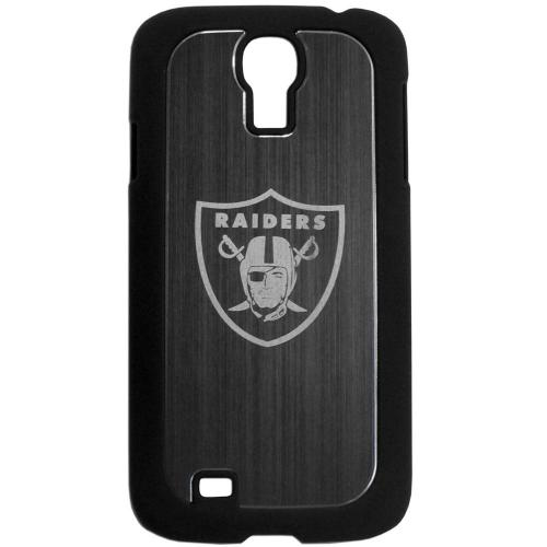 Oakland Raiders Black Rubberized Hard Tough Case w/ Etched Engraved Back for Samsung Galaxy S4 - NFL Licensed