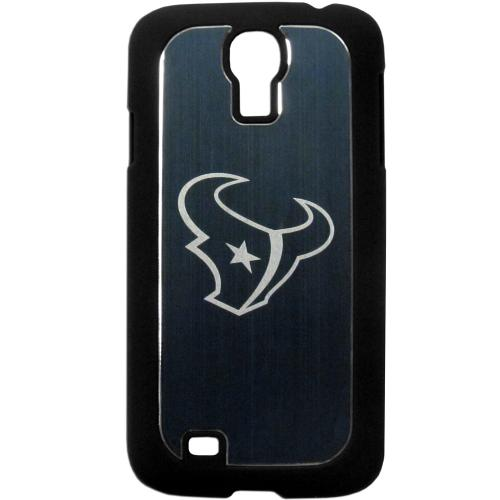 Houston Texans Black Rubberized Hard Tough Case w/ Etched Engraved Back for Samsung Galaxy S4 - NFL Licensed