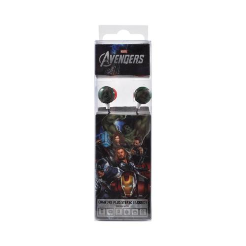 Officially Licensed Marvel Stereo Earbud Headset (3.5mm) - Green Avengers Logo