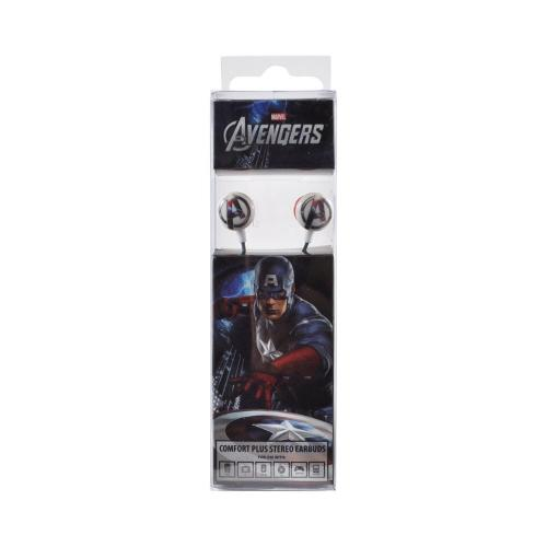 Officially Licensed Marvel Universal Stereo Earbud Headset (3.5mm) - Captain America Avengers Logo