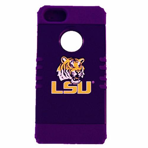 LSU Tigers Rocker Series Purple Hard Case Shell on Purple Silicone Skin Case for Apple iPhone 5/5S - NCAA Licensed