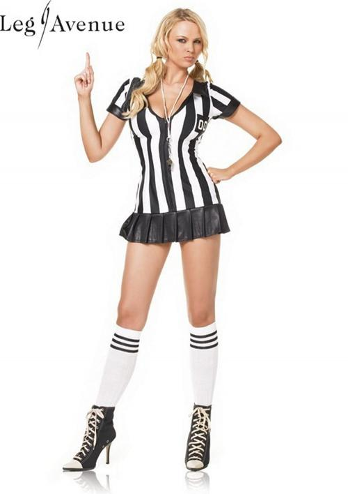 LegAvenue Halloween Costume Game Official Pleated Skirt Zipper Fronts Referee Dress w, Whistle & Socks 83067HW