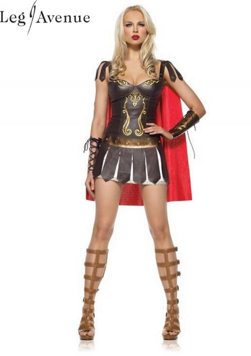 LegAvenue Halloween Costume Warrior Princess Underwire Faux Leather Dress w, Wrist Cuffs & Cape 83454