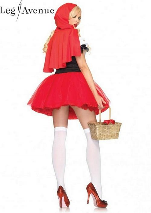 LegAvenue Halloween Costume Racy Red Riding Hood Tutu Peasant Dress w, Corset & Attached Hooded Cape 83615