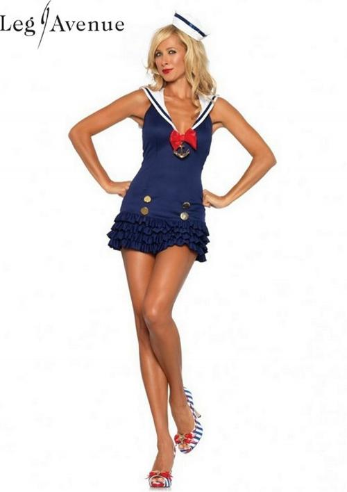 LegAvenue Halloween Costume Sweetheart Sailor Ruffle Bottom Dress w,Anchor Charm & Mini Sailor Hat 83647