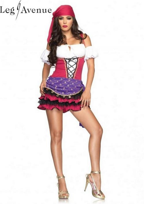 LegAvenue Halloween Costume Crystal Ball Gypsy Peasant Dress w, Ruffles Skirt, Puff Sleeves, & Head Scarf 83671
