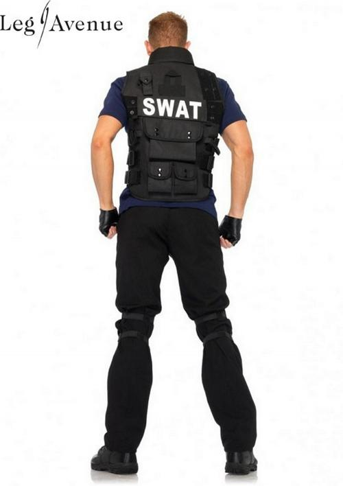 4PC LegAvenue Halloween Costume Men's SWAT Commander Utility Vest, Shirt, Knee Pads, & Fingerless Gloves - Only Size Only 83682