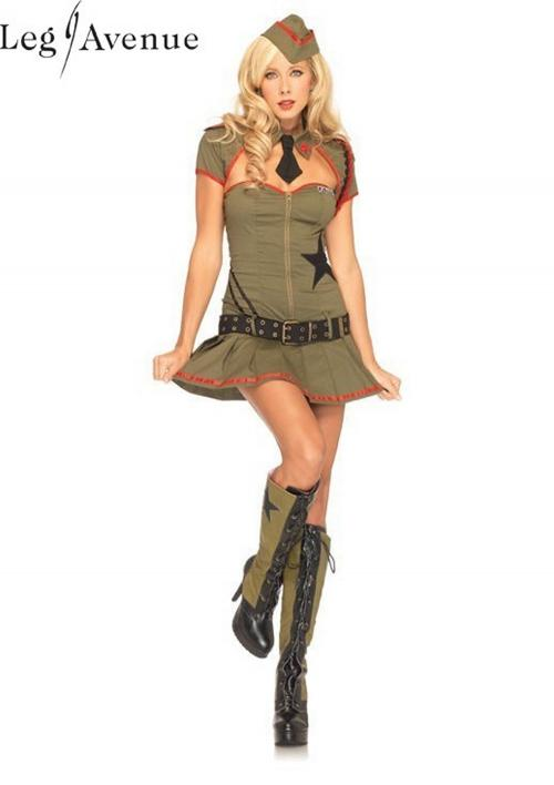 4PC LegAvenue Halloween Costume Private Pin Up Zipper Front Dress w, Clear Straps, Shrug w, Attached Tie, Belt, & Hat 83696