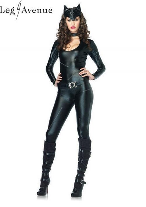 LegAvenue Costume Frisky Feline Keyhole Catsuit w, Attached Tail, Belt, & Ear Headband 83767