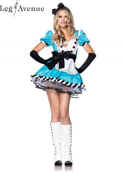 LegAvenue Halloween Costume Charming Alice Ruffle Trimmed Apron Dress w, Bow Headband 83773