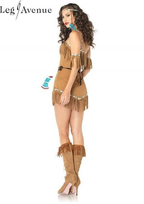 5PC LegAvenue Halloween Costume Tribal Goddess Faux Suede Fringe Dress w, Ribbon Trim, Matching Arm Cuffs, Beaded Apron Belt, Headband, & Toy Tomahawk 83805