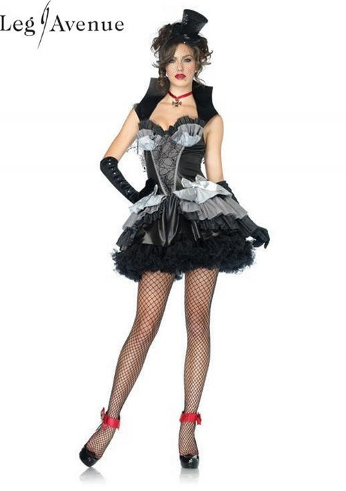 LegAvenue Halloween Costume Queen of Darkness Ruffle Dress w, Spiderweb Cape & Bat Appliqué, Stand Up Collar, & Cross Choker 83823