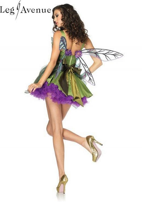 3PC LegAvenue Halloween Costume Woodland Fairy Dress w, Waist Sash & Flower Appliqué Accent & Matching Hair Clip 83868