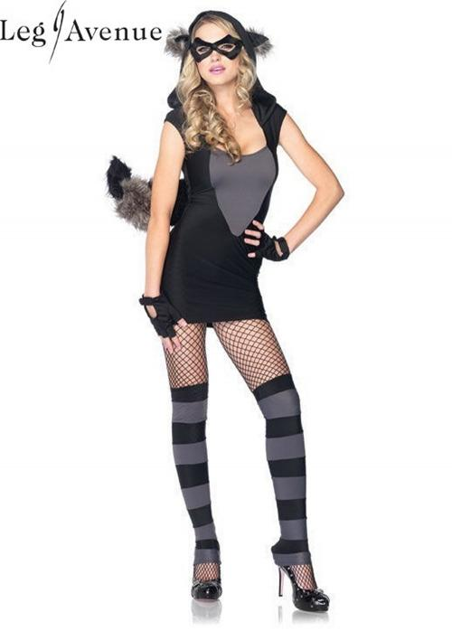 4PC LegAvenue Halloween Costume Risky Raccoon Dress w, Fuzzy Ear Hood & Bendable Tail, Eye Mask, Fingerless Gloves, & Leg Warmers 83881
