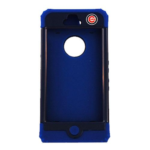Chicago Cubs Rocker Series Black Hard Case Shell on Blue Silicone Skin Case for Apple iPhone 5/5S - MLB Licensed