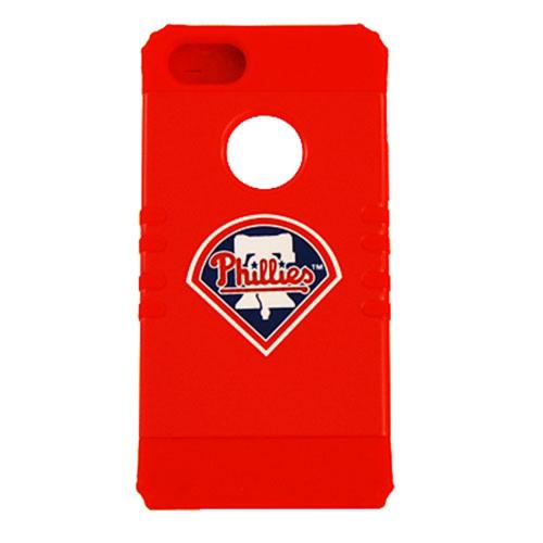 Philadelphia Phillies Rocker Series Red Hard Case Shell on Red Silicone Skin Case for Apple iPhone 5/5S - MLB Licensed