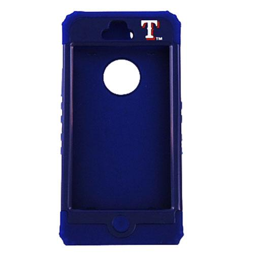 Texas Rangers Rocker Series Blue Hard Case Shell on Blue Silicone Skin Case for Apple iPhone 5/5S - MLB Licensed