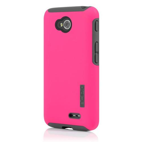 Incipio Hot Pink Lg Optimus Exceed 2/ Lg L70 Dual Pro Series Matte Rubberized Hard Case Cover On Gray Silicone Skin - Lge-236-pnk