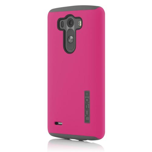 Incipio Hot Pink LG G3 Dual PRO Series Matte Rubberized Hard Case Cover on Gray Silicone Skin Case - LGE-238-PNK - Awesome Protection!