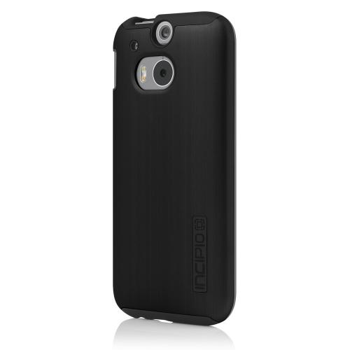 Incipio Black Dual PRO Shine Series Brushed Aluminum Hard Case on Black Silicone Skin Case for HTC One (M8) - HT-398-BLK