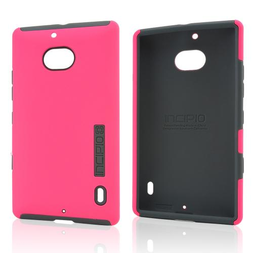 Incipio Hot Pink Dual PRO Series Rubberized Hard Case on Gray Silicone for Nokia Lumia Icon - NK-181-PNK