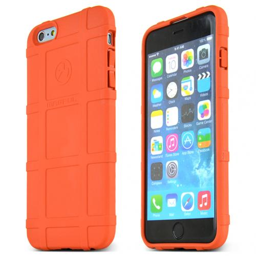 Magpul Apple iPhone 6 PLUS/6S PLUS (5.5 inch) Case, [Orange] Field Series Protective Heavy Duty Textured Flexible Crystal Silicone TPU Case