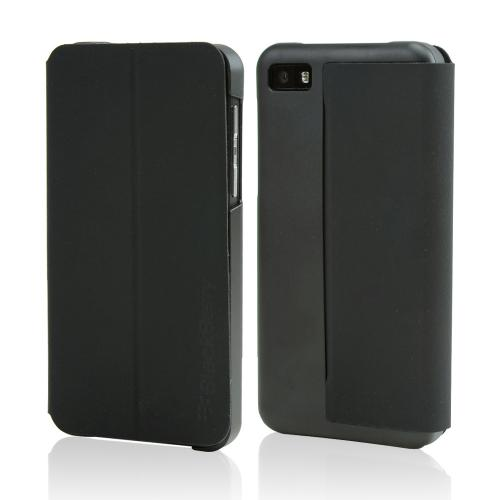 OEM Blackberry Black Diary Flip Cover Hard Case w/ Magnetic Wake/ Lock Cover for Blackberry Z10
