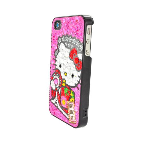 Officially Licensed Sanrio Hello Kitty Apple iPhone 4/4S iDress Bling Hard Case, ID-91KT - Kimono Hello Kitty w/ Pink/Silver Gems