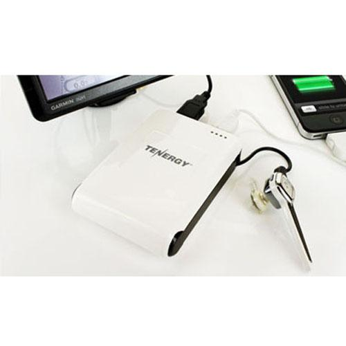 Tenergy White/ Black Triple Output {10.4A} Power Bank with Integrated Micro USB Cable & 2 USB Ports