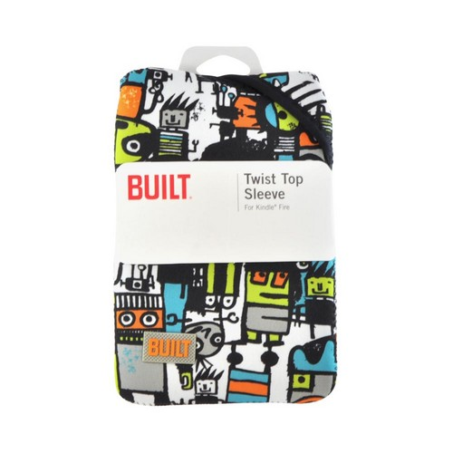 OEM Built Amazon Kindle Fire/ Google Nexus 7/ Nexus 7 2 Twist Top Neoprene Sleeve Case, E-TWKF1-RUG - Orange/ White Robot Uprising