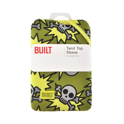 OEM Built Amazon Kindle Fire/ Google Nexus 7/ Nexus 7 2 Twist Top Neoprene Sleeve Case, E-TWKF1-SAO - Green/ Gray Skeleton Army