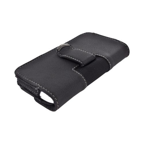 OEM Qmadix Universal Horizontal Leather Holster Pouch w/ Magnetic Closure (PUTL) - Black
