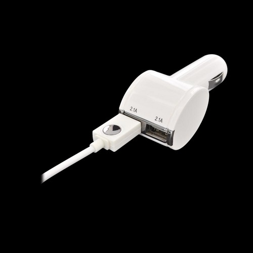 Qmadix White Twin Tablet USB Car Charger w/ MFI Certified Apple Data Cable (Not Lightning) - 4200 mAh