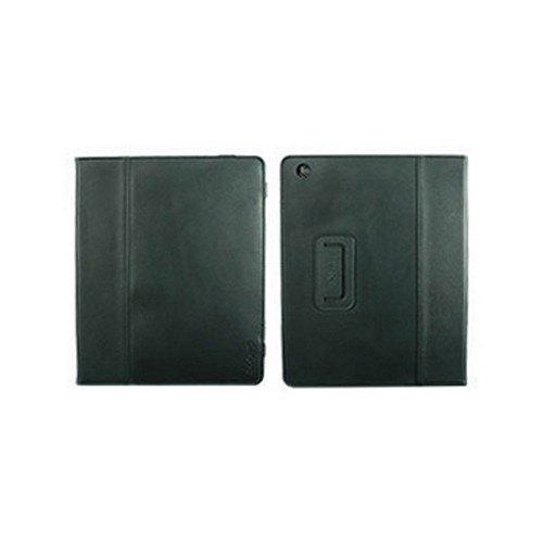 Odoyo Genuine Leather Folio Series Black Hard Case Stand for Apple iPad 2/3/4