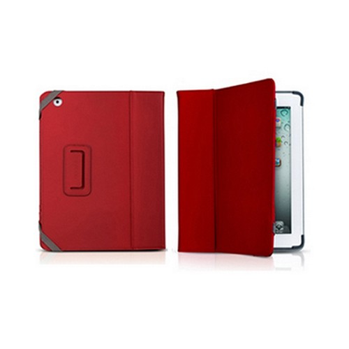 Odoyo Genuine Leather Folio Series Red Hard Case Stand for Apple iPad 2/3/4