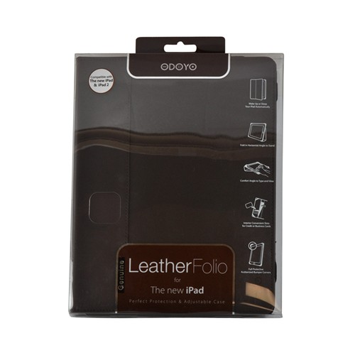 Odoyo Genuine Leather Folio Series Brown Hard Case Stand for Apple iPad 2/3/4