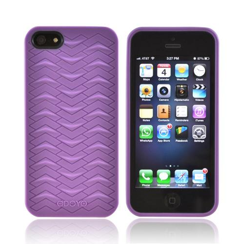 OEM Odoyo Shark Skin Collection Apple iPhone 5/5S Anti-Slip Hard Case w/ Screen Protector - Purple