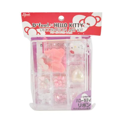 Officially Licensed Sanrio Hello Kitty DIY Decoration Art Kit w/ Bows, Hearts, Hello Kitty Face - Pink/ White