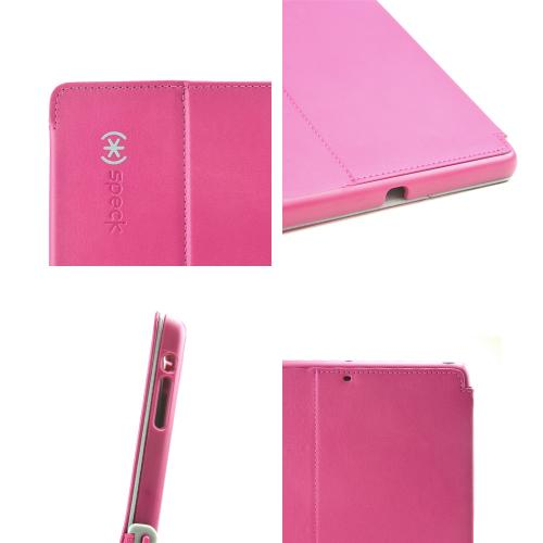 Speck Fuchsia Pink/ Grey StyleFolio Series Vegan Leather Case w/ Clasp Closure & Stand for Apple iPad Air - SPK-A2319