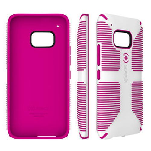 Speck Candyshell Fishbone Grip HTC One M9 Case | [White/ Pink] Hard Polycarbonate Cover on Silicone Skin Dual Layer Hybrid Case