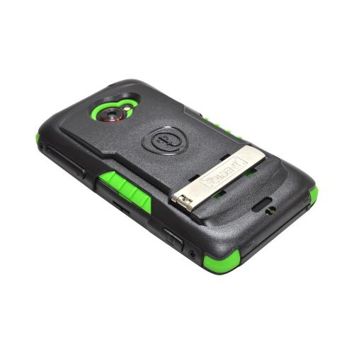 OEM Trident Kraken AMS HTC EVO 4G LTE Hard Case Over Silicone w/ Screen Protector, Kickstand & Belt Clip - Green/ Black