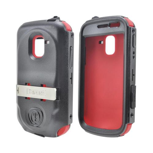 OEM Trident Kraken AMS Samsung Exhilarate i577 Hard Case Over Silicone w/ Screen Protector, Kickstand & Belt Clip - Red/ Black