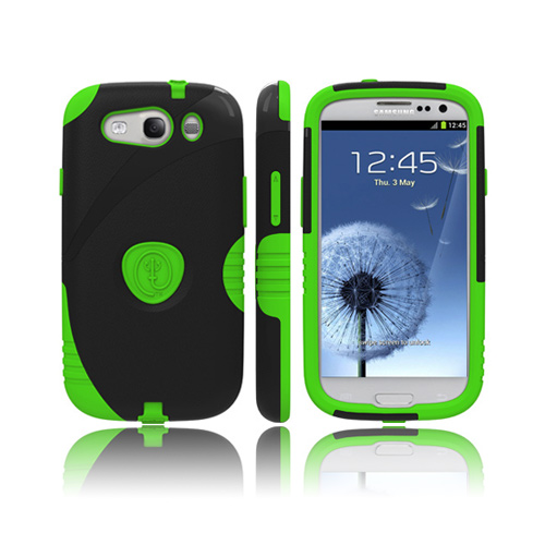Trident Aegis Samsung Galaxy S3 Hard Case Over Silicone w/ Screen Protector - Lime Green/ Black