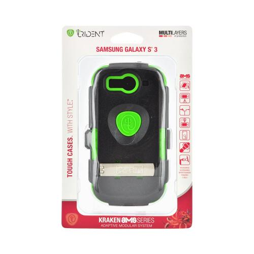 OEM Trident Kraken AMS Samsung Galaxy S3 Hard Case Over Silicone w/ Screen Protector - Black/ Green