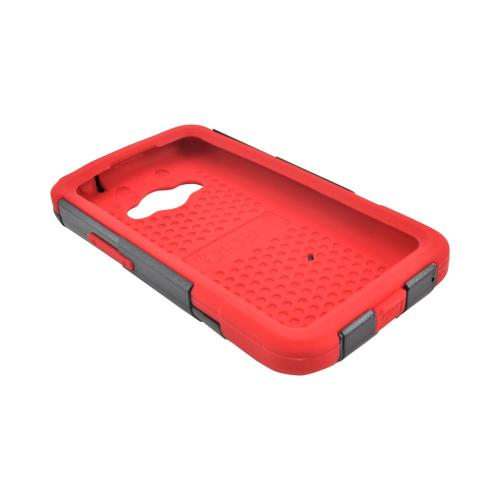 OEM Trident Aegis LG Optimus Elite Hard Cover Over Silicone Case w/ Screen Protector - Red/ Black