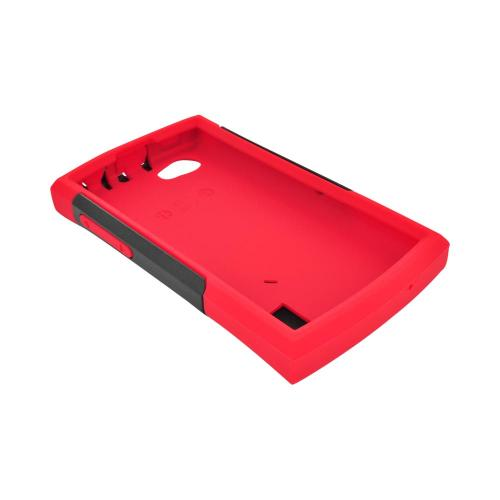 OEM Trident Aegis LG Optimus M+ Hard Cover Over Silicone Case w/ Screen Protector - Red/ Black